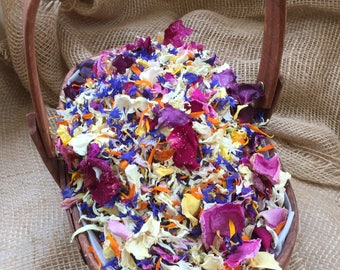 basket filled with dried petal confetti. trug real