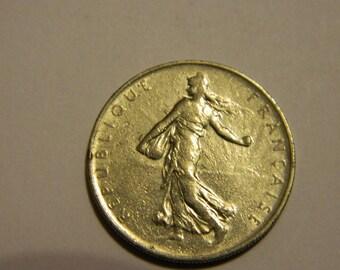 """France 1960 1 Franc & 1965 1/2 Franc Lot of 2 Vintage Coins """"Seed Sower"""" #84"""
