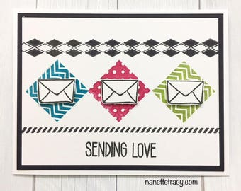 C011 - Handmade Sending Love Greeting Card - Friendship & Love Card