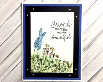 C028 - Hand-lettered Hand-drawn Watercolor Floral Greeting Card - Friendship