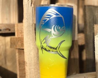 Mahi stainless steel tumbler/ fishing/ mahi mahi/ yeti/ ozark/ custom cup