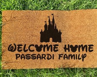 Custom personalized Family name disney door mat, magic kingdom doormat, DVC, disneyland,custom hand painted doormat,home decor,birthday gift
