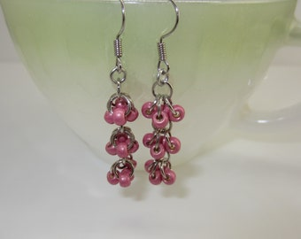 Dusty Rose Lipstick Pink Custom Hand Made Earrings Waterfalls Pattern - Free Shipping USA & CANADA