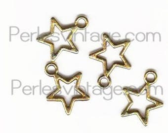 10 gold metal star charms