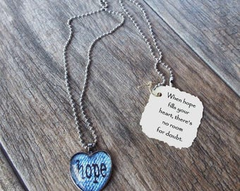 Hope in your Heart Denim Necklace