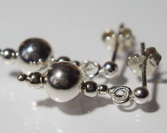 Sterling Silver Bead Earrings, Dangle Studs, Dangle Bead Earrings, Silver Stud Post, Silver Ball Earrings, Office Earrings, Small Earrings