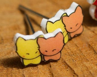 Tiny snuggle earrings-Valentines Day cuteness! Only 1 pair made!
