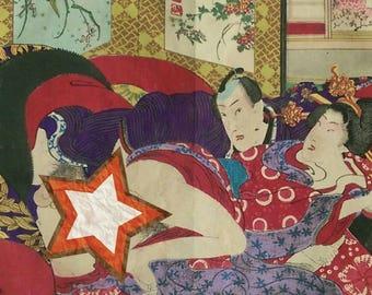 Antique Japanese Prints Shunga (erotic) Woodblock Prints 19th Century (B) - 2 Pictures 773