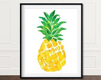 Wall Print Pineapple, Pineapple Wall Art, Pineapple Print Art, Pineapple Decor, Pineapple Prints, Wall Art Pineapple, Printable Pineapple