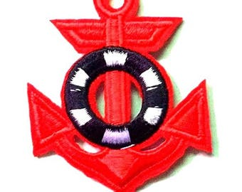 Patch embroidered patch red anchor fusible sea ocean 6.5 cm x 5 cm