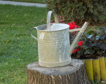 large vintage french galvanized zinc watering can bucket farmhouse home country living dcor rustic garden