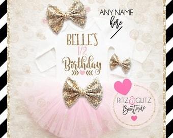 Half Birthday Baby Girl Shirt   Half Birthday Outfit   Baby Girl Half Birthday Tutu Set   Baby Girl Birthday Shirt   6 Month Birthday Shirt