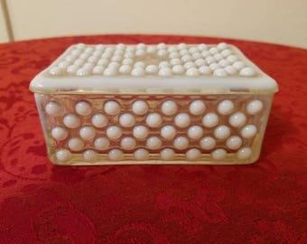 Anchor Hocking Hobnail Moonstone Glass Dresser Box