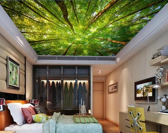 Ceiling FOREST wallpaper, trees wall mural, green tree forest, forest mural, ceiling wall decal, pines wall mural, moor wall mural, ceiling