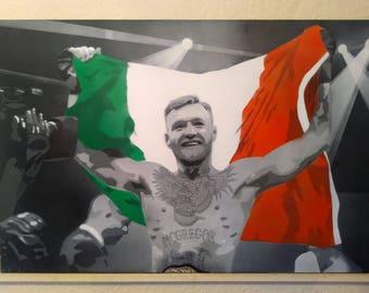 Conor McGregor spray-painted canvas