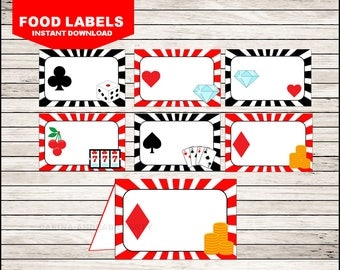 Casino Night Poker Food Labels instant download, Casino Night Poker Tent cards , Casino Party Food tent cards
