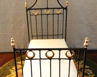 "Artisan Made Dollhouse Miniature Wrought Iron Look Bed ""ANNA"" 1:12 Scale Twin and Full"