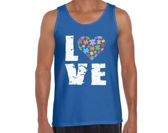 Autism Awareness Love Puzzles Tank Tops for Men Graphic Tank Tops Autistic Support Puzzle Piece ASD Autism