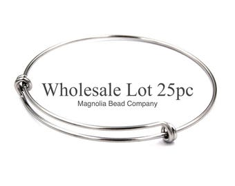 Stainless Steel Adjustable Bangle Double Loop 65mm Adjustable Wire Bangle, Stainless Steel, Wholesale Lot Of 25pcs