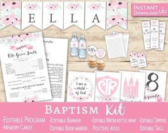 Kit Baptism Girl: Editable PDF Baptism Program + Toppers + Tags + Banner Flags Book markers Water Bottle Labels - Floral Pink LDS baptism
