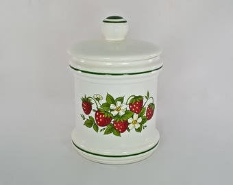 Vintage Strawberry Ceramic Canister, Canister Jar, Storage Container, Kitchen Storage, Baking Storage, Mid Century Kitchen, Farmhouse,Shabby