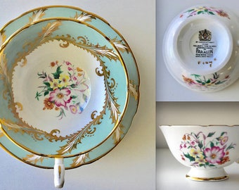 Paragon Sage and White Teacup and Saucer, Gold Garland, English Bone China Teacup, Vintage, Tea Cup, Saucer, Cabinet Teacup, ca. 1960-1963