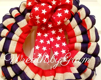 Patriotic Wreath; 4th of July Decor; Burlap Wreath; Primitive Americana; Military Wreath; 4th of July Bunting; 4th of July Wreath