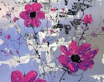 Fleurs rose-mauve 12 po x 8 po acrylique sur aluminium à l'état naturel / Purple, pink flowers acrylic on natural aluminum