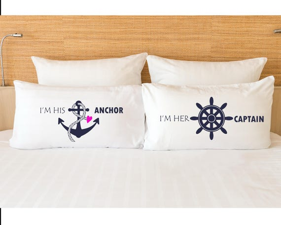 nautical couples pillow his hers pillowcases couples