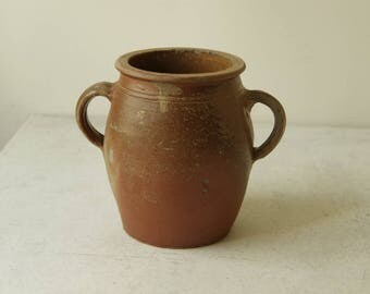Antique French Stoneware pottery. French Country Stoneware crockery. Farmhouse condiments/grease pot  Rustic Earthenware. Artist brush stand
