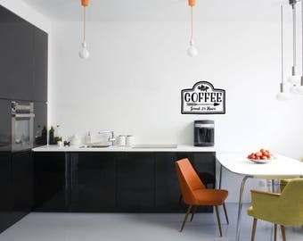 Coffee Served 24 Hours Kitchen Vinyl Wall Quote