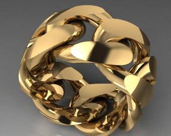10K 15mm Gold Cuban Link Men's Ring