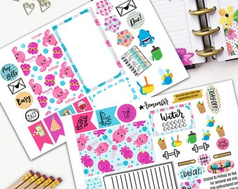 Octopi Theme Planner Weekly Sticker SMALL Kit, BIG Happy Planner Sticker, Weekly Set, Stickers, Printed, Cut, Octopus, Marine Life, Jelly
