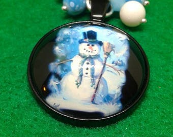 Blue snowman christmas ornament