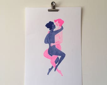 Lovers  A4 riso print