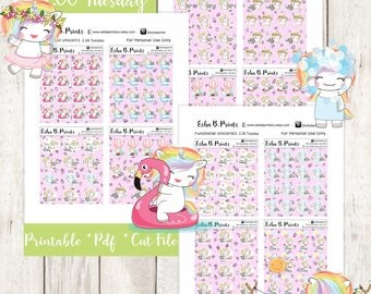 Two Dollar Tuesday Functional Unicorn Rainbow1 Printable Planner Stickers/Weekly Kit/For Use with Erin Condren/Cutfile Fall September Coffee