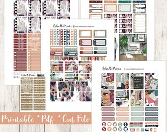 Fall Boss Printable Planner Stickers/Weekly Kit/For Use with Erin Condren/Cutfiles Fall September Glam Glitter Work Plan