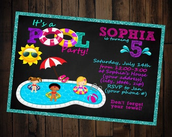 Pool Party Invitation - Pool Party Birthday Invitation - Pool Party Birthday - Swimming Party Invitations- Swimming Party