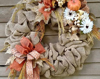Rustic Burlap Wreath, Fall Burlap Wreath, Burlap Door Wreath, Natural Burlap Wreath