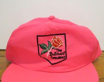 BUTCHART GARDENS Cap Hat Authentic Neon Pink Trucker Snapback