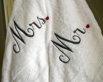Mr & Mrs Bath Towel Set