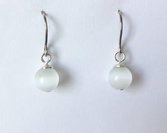 Vintage Moonstone Pearly White Dangle Drop Earrings