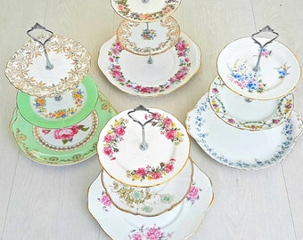 3 tier cake stand, wedding cake stand, cupcake stand, mismatched China, mismatched plates, mismatch, cake stand, mad hatter tea party