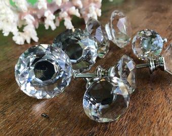 4x Crystal glass Door Knob Furniture Drawer Bedside Cabinet Kitchen