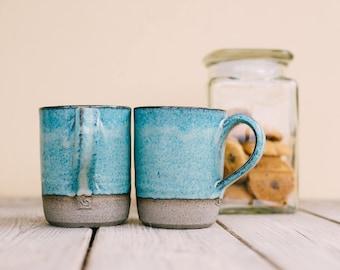 Ceramic mug set, SET OF TWO, Unique blue turquoise mug, Coffee lovers gift, Pottery mug set, Ceramic tea cup set, Pottery cups, Holiday gift