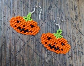 Halloween beaded earrings, Beaded Pumpkin Earrings, Handmade beaded, Halloween pumpkin earrings, Earrings Witch Pumpkin, Halloween Jewelry
