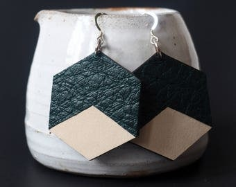 Two-tone leather Hexagon earrings