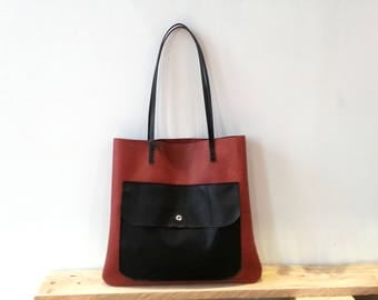 Black and brown leather handmade tote bag