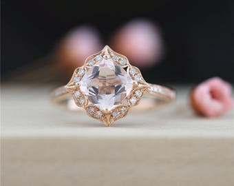 Half Eternity Pave Halo Diamonds Gemstone Engagement Ring Art Deco Morganite Ring 5mm Cushion Cut Engagement Ring Solid 14K Rose Gold Ring