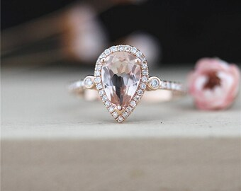 Pear Cut Morganite Engagement Ring Stackable 14K Rose Gold 6*9mm Pink Morganite Ring Halo Diamonds Ring Gemstone Ring Promise Wedding Ring